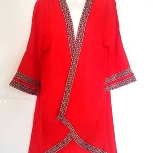 ⛱CCO⏬ Vibrant Red Kimono Duster Coverup Sz Large